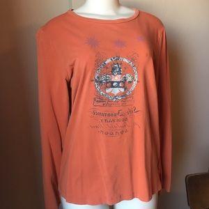 CAbi Tops - Long sleeve cabi graphic tee in rusty orange.